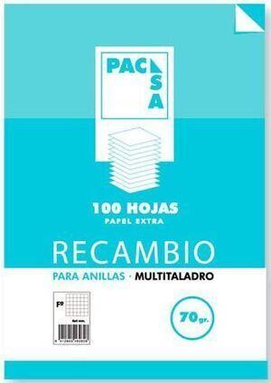 RECAMBIO FOLIO 100 H  MULTITALADRO CUADRICULA 4 C/M 70 GRAMOS (21221) [I-6-5]