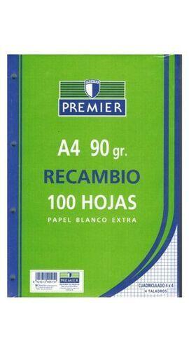 RECAMBIO A4 90 GRAMOS 4 TALADROS 100 HOJAS CUADRICULA 4 [P-6-2-3]