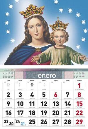 CALENDARIO DE PARED MARIA AUXILIADORA MURAL, 12 MESES, FALDILLA